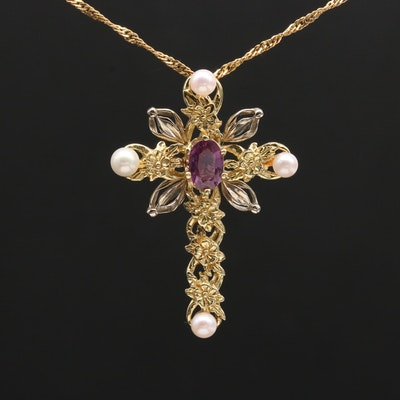 18K White and Yellow Gold Purple Sapphire and Cultured Pearl Cross Necklace