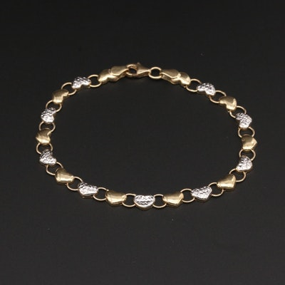 10K Yellow and White Gold Heart Link Bracelet