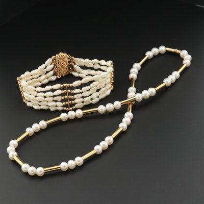 18K Yellow Gold Cultured Pearl Necklace and 14K Bracelet