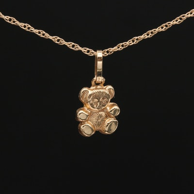 14K Yellow Gold Teddy Bear Pendant Necklace