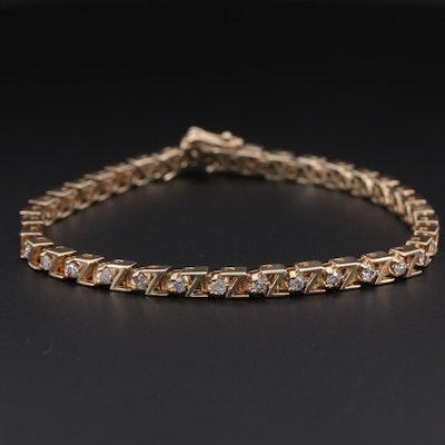 14K Yellow Gold 1.44 CTW Diamond Tennis Bracelet