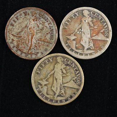Three Philippines Silver Fifty Cents Coins
