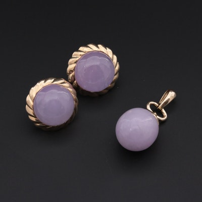 14K Yellow Gold Jadeite Pendant and Earrings