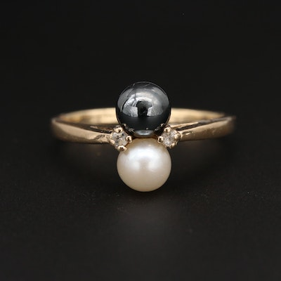 10K Yellow Gold Cultured Pearl, Hematite and White Topaz Ring