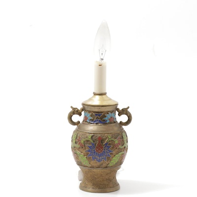 Converted Champlevé Brass Vase Table Lamp, Early 20th Century