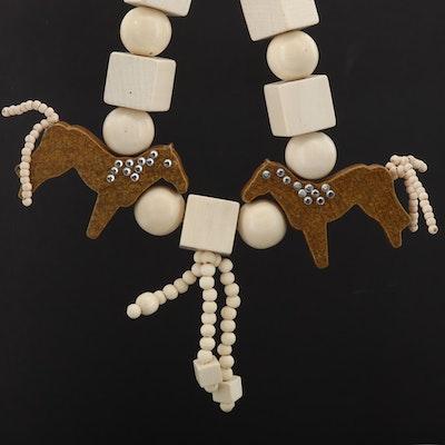 Wood and Rhinestone Horse Motif Necklace