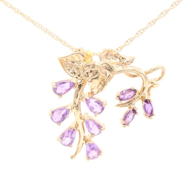 14K Yellow Gold Amethyst Foliate Pendant Necklace