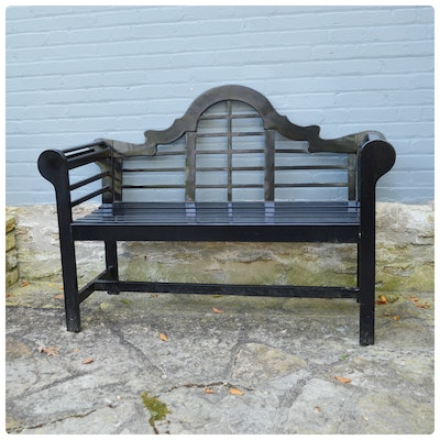 Lutyens Black Wood Patio Bench, Contemporary