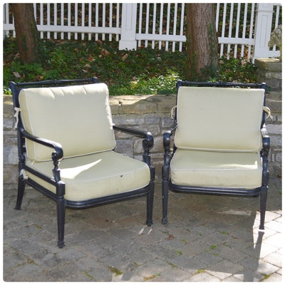 Frontgate Cast Metal Patio Lounge Chairs, Contemporary