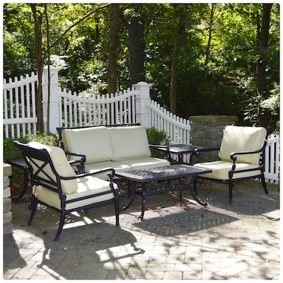 Frontgate Cast Metal Patio Settee Conversation Set, Contemporary
