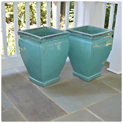Square Turquoise Glazed Terracotta Planters