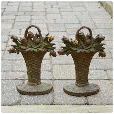 Pair of Cast Iron Floral Basket Doorstops, Antique