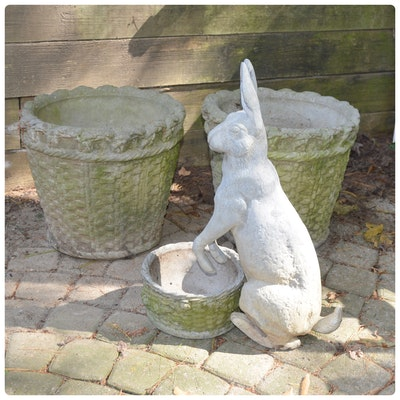 Concrete Basket Planters with Seated Bunny