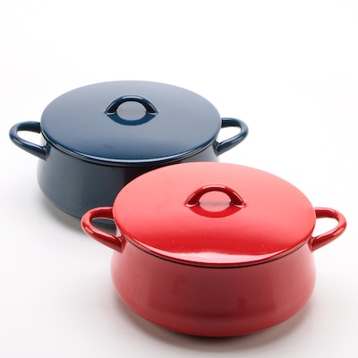 Dansk Red and Navy Enameled Cast Iron Dutch Ovens