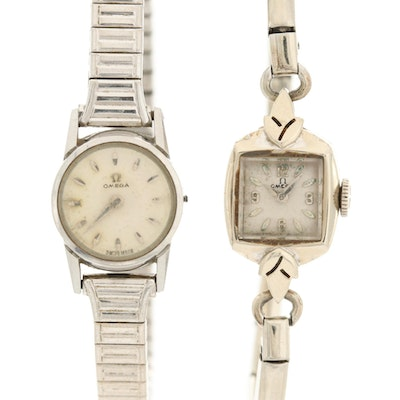 Pair of Omega 14K White Gold and Stainless Steel Stem Wind Wristwatches