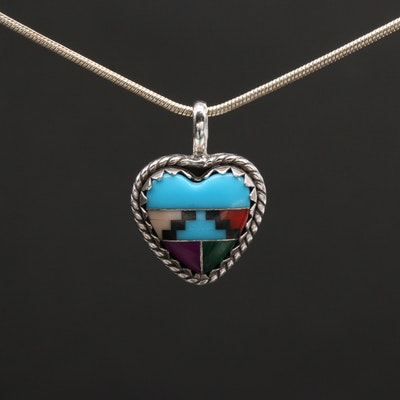Sheryl Martinez Navajo Diné Sterling Turquoise and Gemstone Inlay Heart Necklace