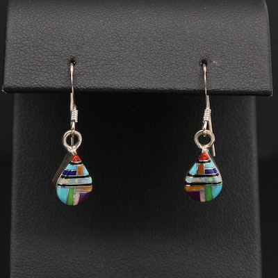 Sheryl Martinez Navajo Diné Sterling Coral and Gemstone Inlay Drop Earrings