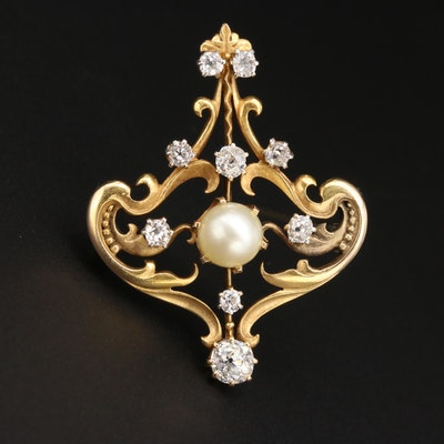 Art Nouveau 14K Yellow Gold Cultured Pearl and 1.08 CTW Diamond Brooch