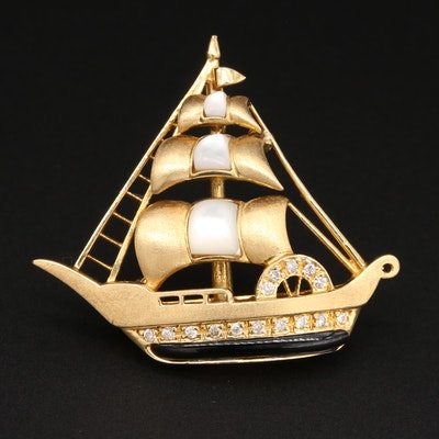 18K Yellow Gold Mother of Pearl, Diamond, and Black Onyx Ship Converter Brooch