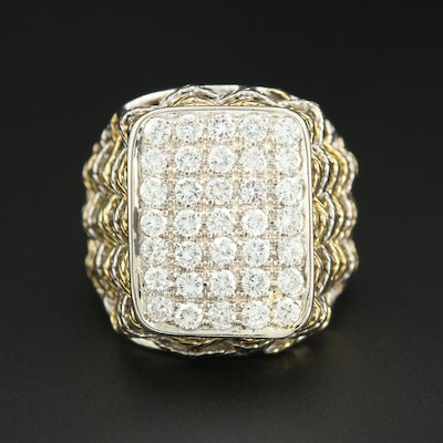 18K Yellow and White Gold Pavé Diamond Ring with Basket Weave Design
