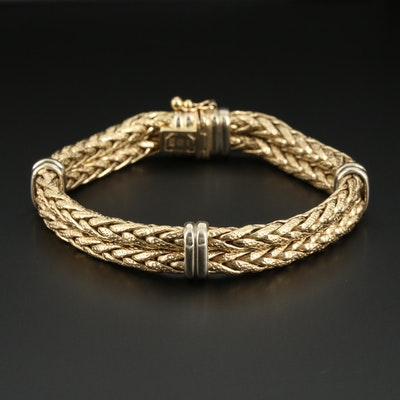 14K Yellow Gold Double Row Wheat Link Bracelet