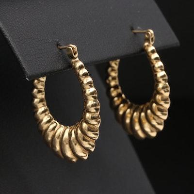 14K Yellow Gold Scalloped Hoop Earrings