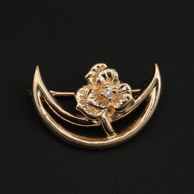 14K Yellow Gold Diamond Crescent Moon and Flower Brooch
