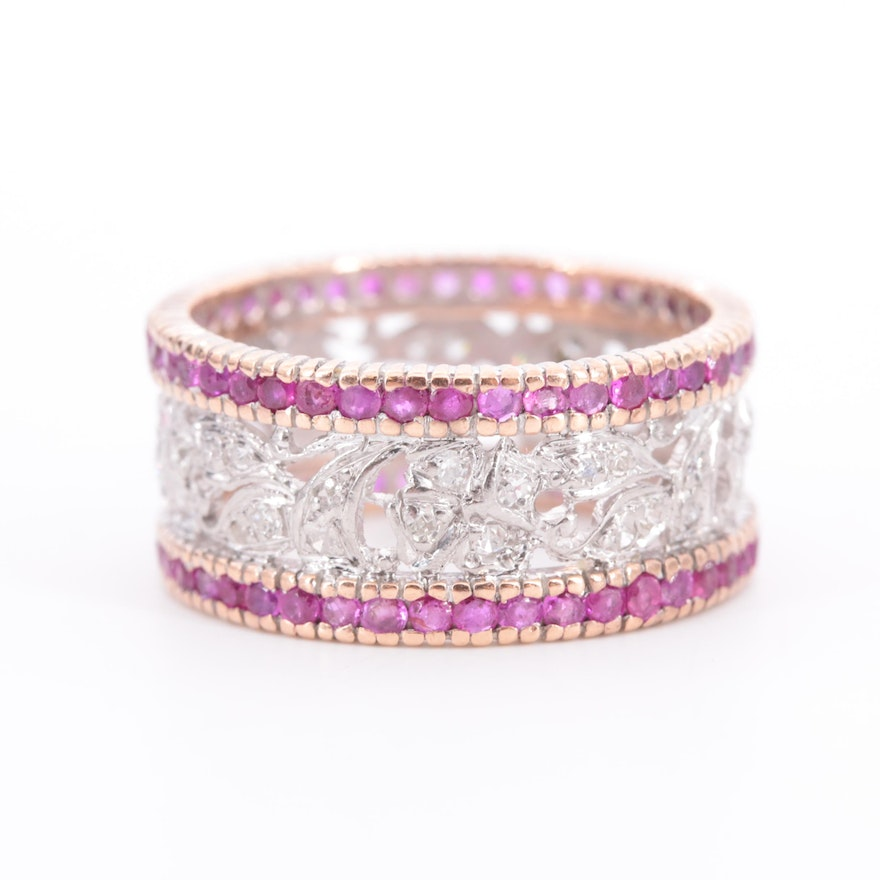 Vintage Palladium and 14K Rose Gold Diamond and Ruby Band with Foliate Motif