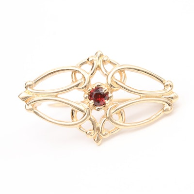14K Yellow Gold Garnet Brooch