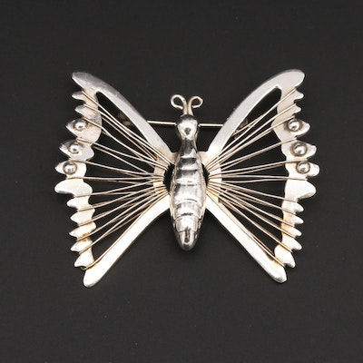 Taxco Sterling Silver Butterfly Brooch
