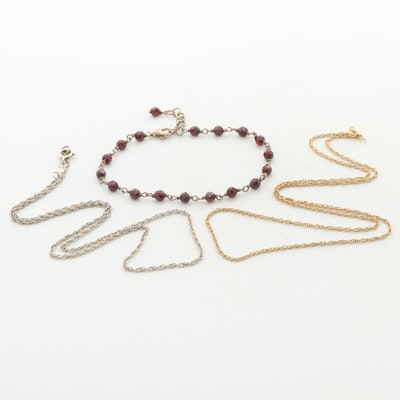 Sterling Garnet Bracelet, Mexican Rope Chain and Gold Tone Rope Chain