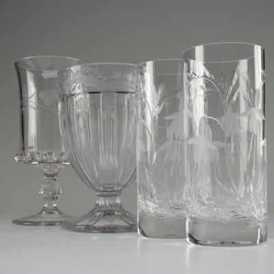 Etched Glass Floral Vases and Crystal Tumblers