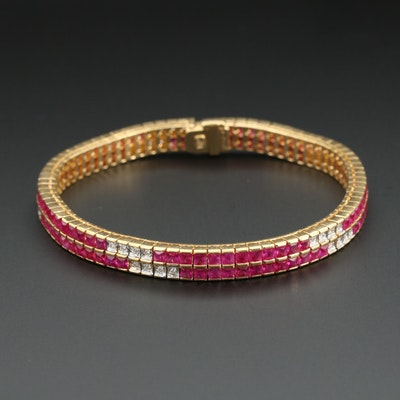 Bellarri 18K Yellow Gold Ruby and Diamond Double Row Line Bracelet