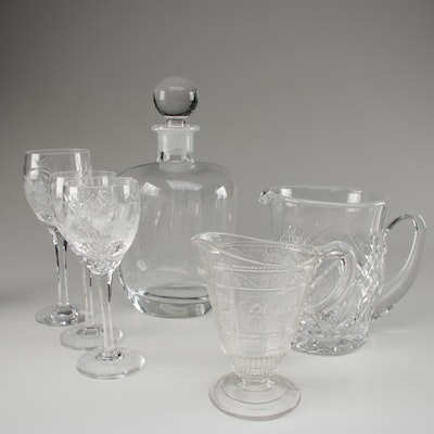 "Waterford Crystal Pitcher with Stuart ""Cascade"" Crystal Stemware and More"