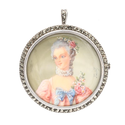 Vintage French Sterling Silver Marcasite Miniature Portrait Converter Brooch