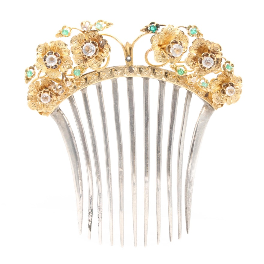 Victorian 18K Yellow Gold and Sterling Diamond, Emerald and Glass Hair Comb