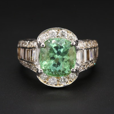 18K White Gold 3.58 CT Tourmaline and 2.12 CTW Diamond Ring with Arthritic Shank