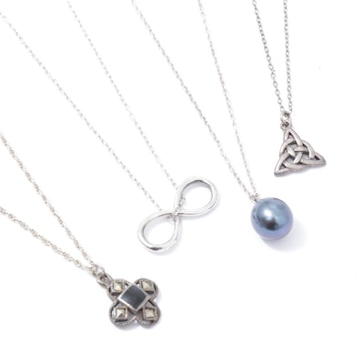Sterling Silver Pendant Necklaces Including Cultured Freshwater Pearl, Marcasite