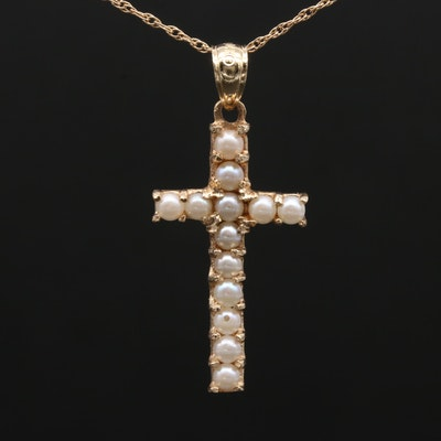 14K Yellow Gold Cultured Pearl Cross Pendant Necklace