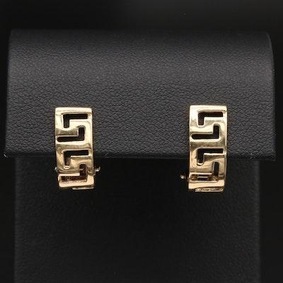 14K Yellow Gold Greek Key Huggie Earrings