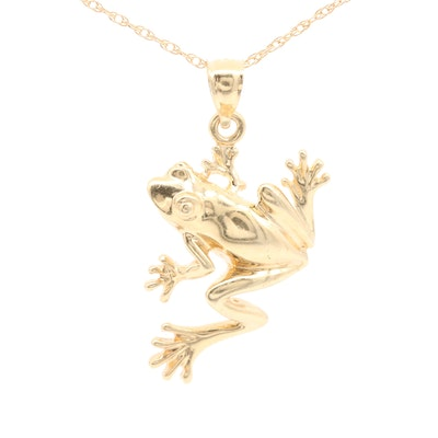 14K Yellow Gold Frog Pendant Necklace