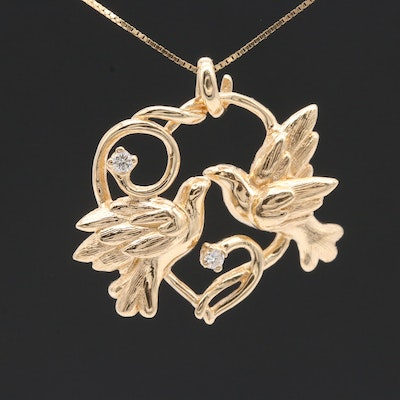 14K Yellow Gold Diamond Bird Pendant Necklace
