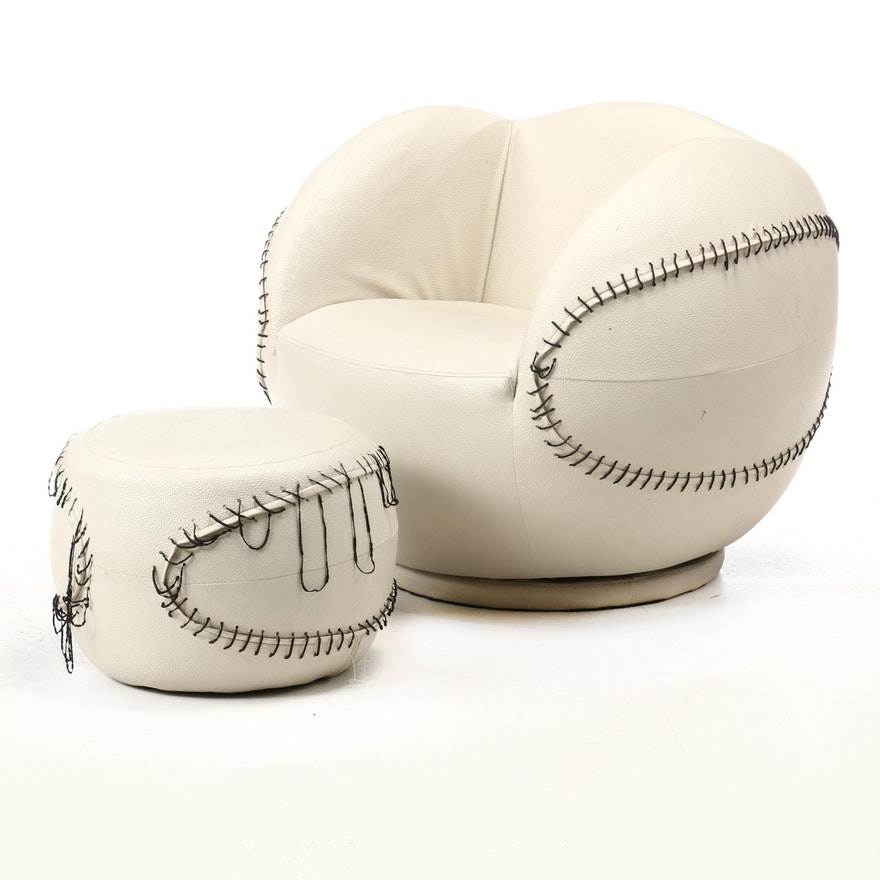 Baseball Shaped Faux Leather Child's Arm Chair with Ottoman, Contemporary