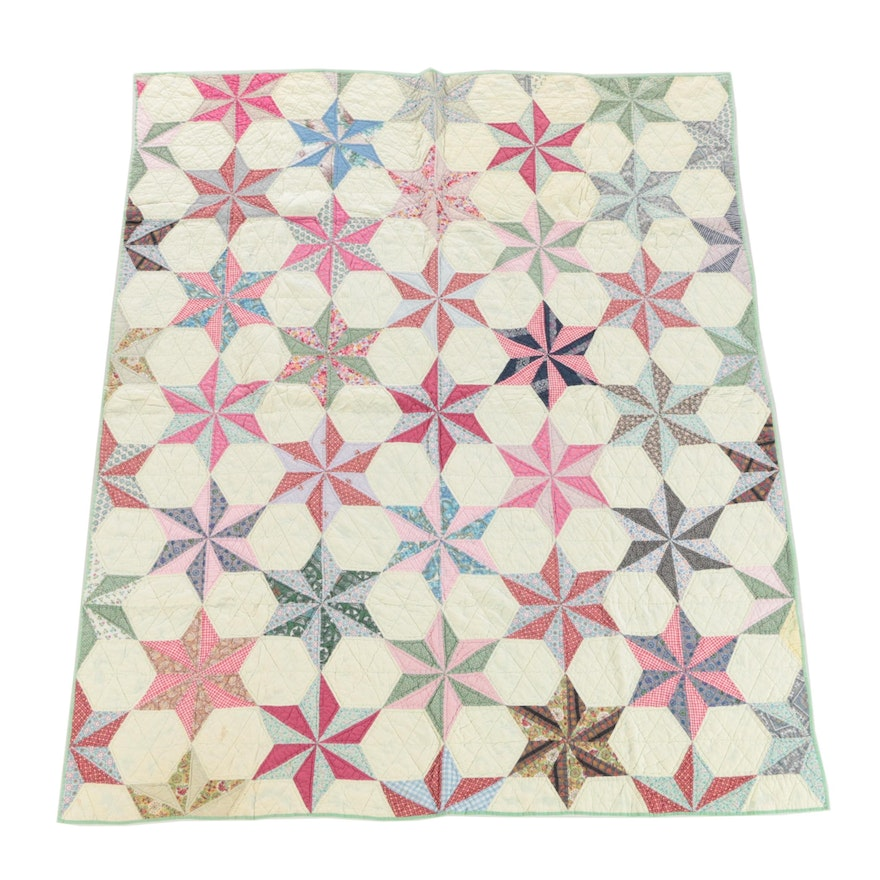 Handcrafted Cotton Six-Pointed Star Quilt, Late 20th Century