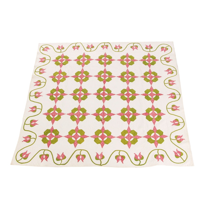 """Handcrafted """"Hickory Leaf"""" and Meandering Tulip Cotton Quilt"""