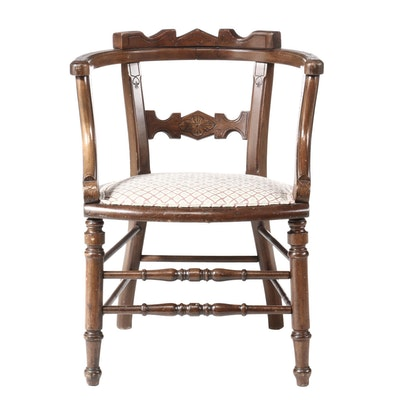Victorian Eastlake Ebonized Finish Upholstered Arm Chair, Late 19th Century