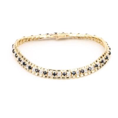 10K Yellow Gold Blue Sapphire and Diamond Bracelet