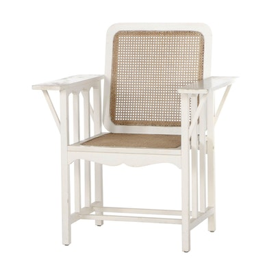 """Arts and Crafts White-Painted Oak and Caned """"McKinley"""" Armchair"""