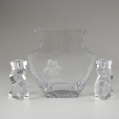 Crystal Candlesticks with Etched Glass Vase, Contemporary