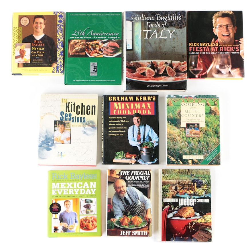 Cookbooks featuring Rick Bayless, Giuliano Bugialli, Graham Kerr, and More